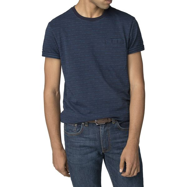 Pixel Stripe T-Shirt, NAVY, hi-res