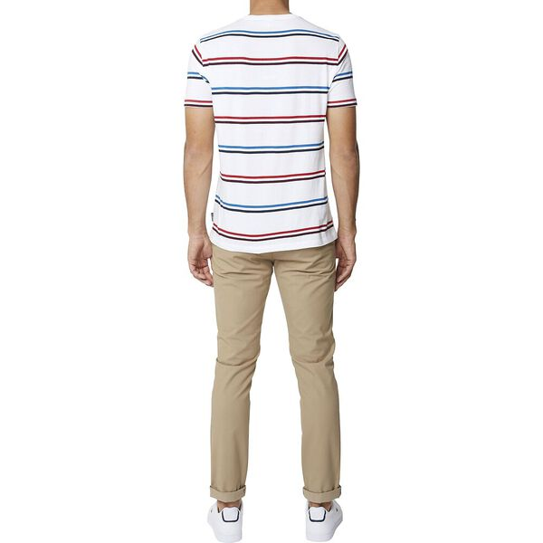 Twin Stripe Crew Tee White, WHITE, hi-res