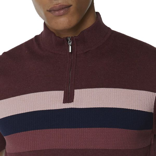 ZIP TURTLE NECK KNITTED POLO KNIT, WINE, hi-res