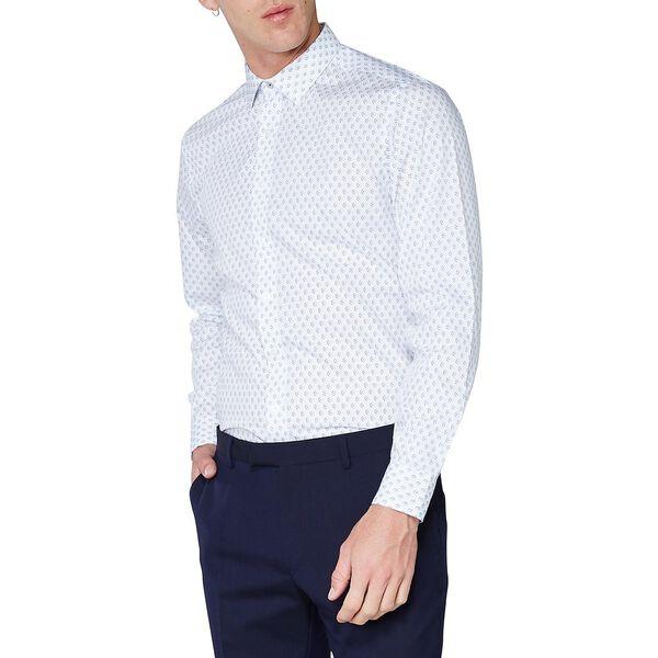 Geo Print Camden Shirt, WHITE, hi-res