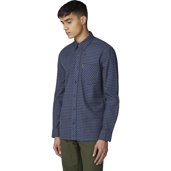 BRUSHED GINGHAM SHIRT, DARK NAVY, hi-res