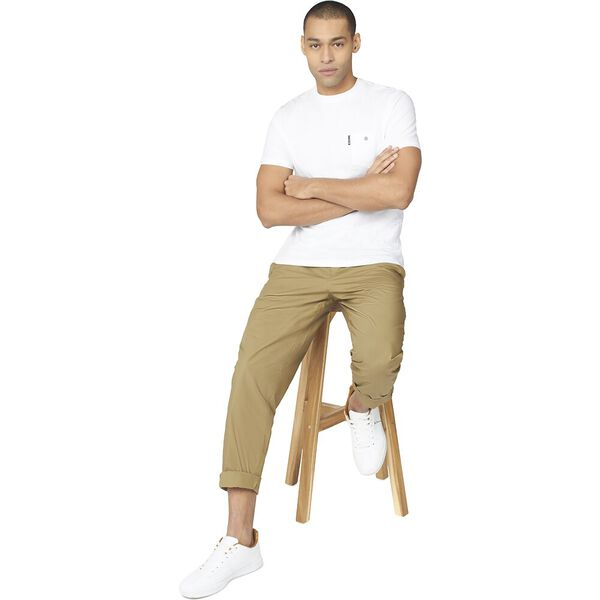 POPLIN RELAXED TAPER PLEAT TROUSER, OLIVE, hi-res