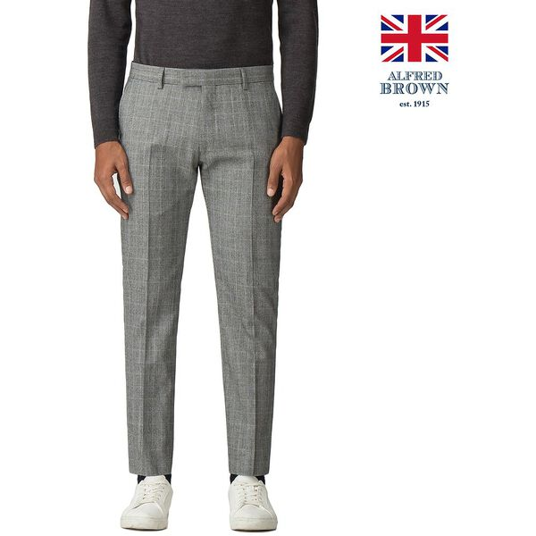 GREY POW MOD CHECK TROUSER