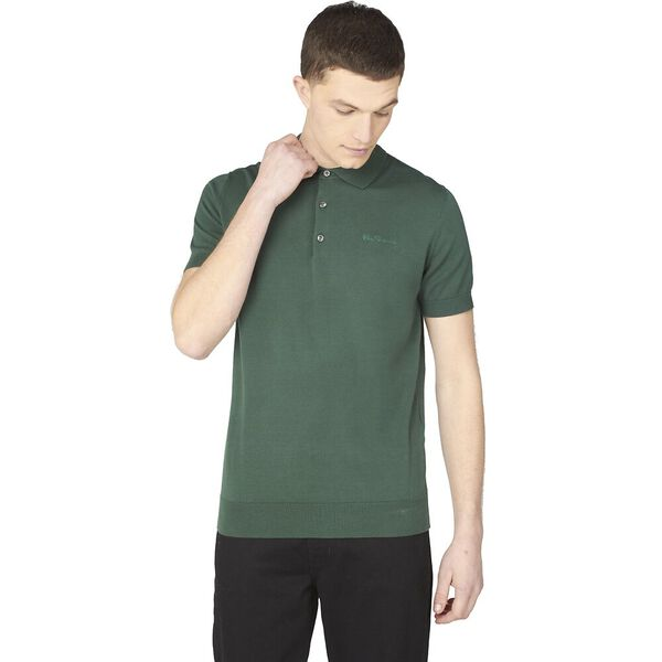 SHORT SLEEVE SIGNATURE KNITTED POLO, TREKKING GREEN, hi-res