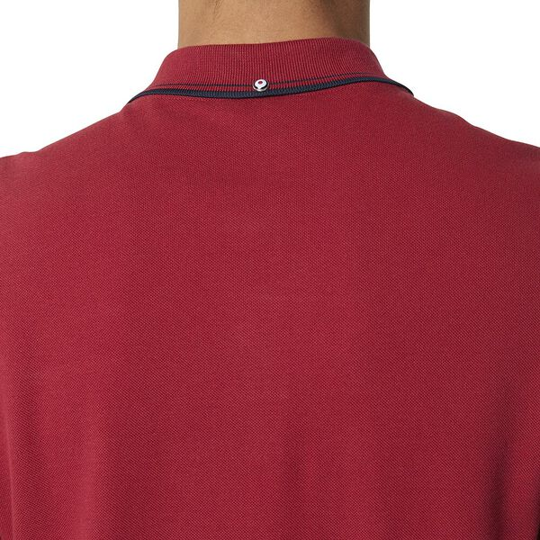 Basic Script Polo With Tipping Red, RED, hi-res