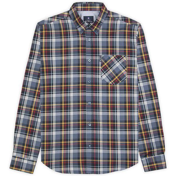 Textured Check Shirt, DARK NAVY, hi-res