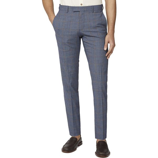 BLUE RUST WINDOWPANE CHECK TAIL TROUSER