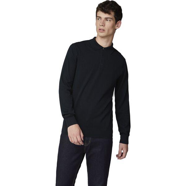 L/S Cotton Polo Black, BLACK, hi-res