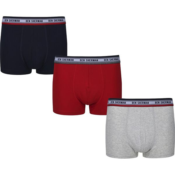 COSMO 3PK TRUNKS BLACK/GREY MARL/RED