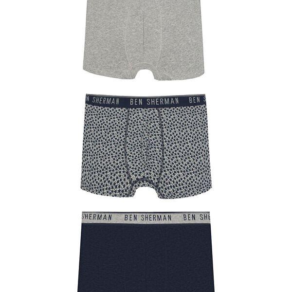 Caleb 3Pk Trunks Grey/Grey Geo/Navy