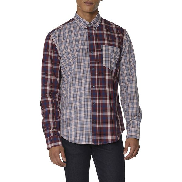 Mixed Check Shirt, LIGHT PINK, hi-res
