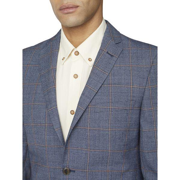 Blue Rust Windowpane Check Tail Jacket, BLUE, hi-res