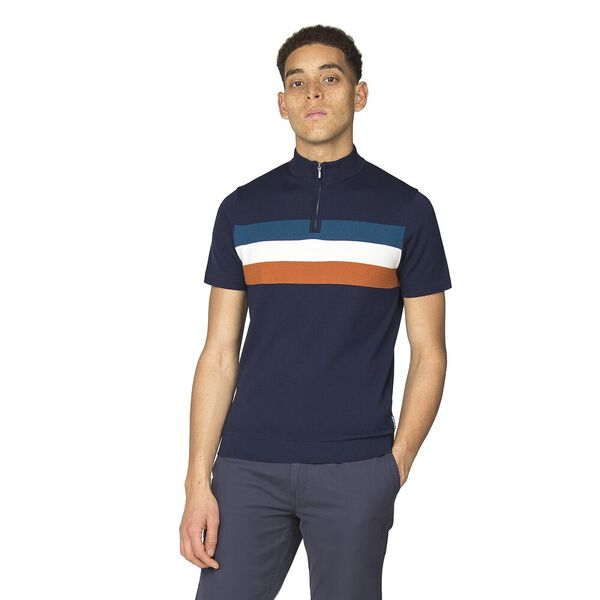 ZIP TURTLE NECK KNITTED POLO KNIT, NAVY, hi-res