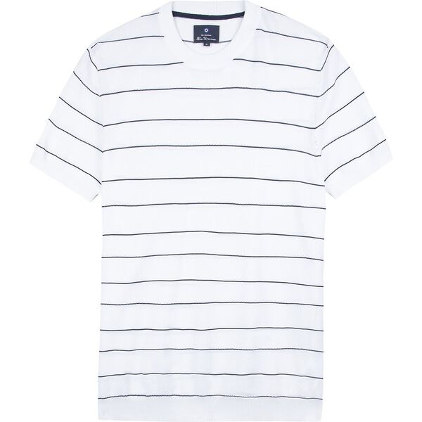 CREW NECK STRIPE KNIT TEE, WHITE, hi-res
