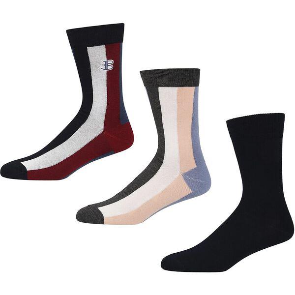 Snap 3 Pack Socks, NAVY STRIPES, hi-res