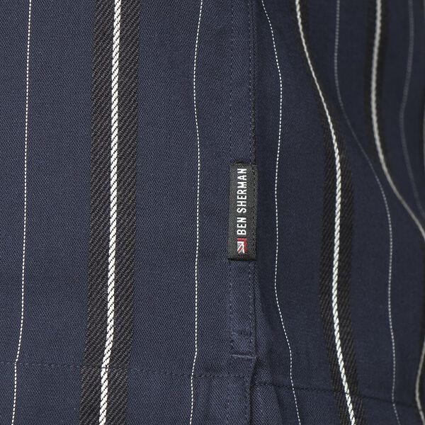 Satin Stripe Shirt, DARK NAVY, hi-res