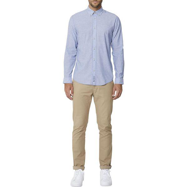 Chambray Mod Ls Shirt Dark Blue, DARK BLUE, hi-res