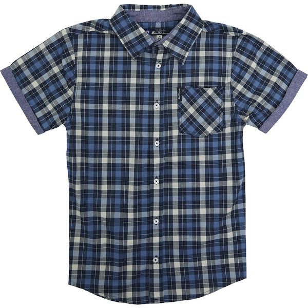 Kids Check Shirt, NAVY/LT GREEN, hi-res