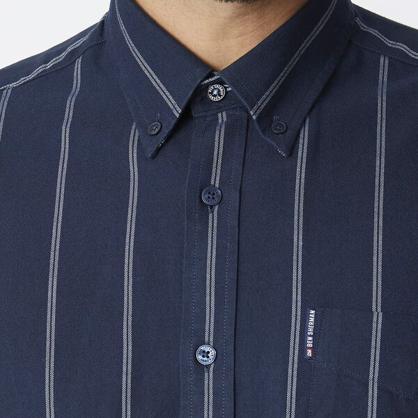 TWIN STRIPE OXFORD SHIRT, DARK NAVY, hi-res