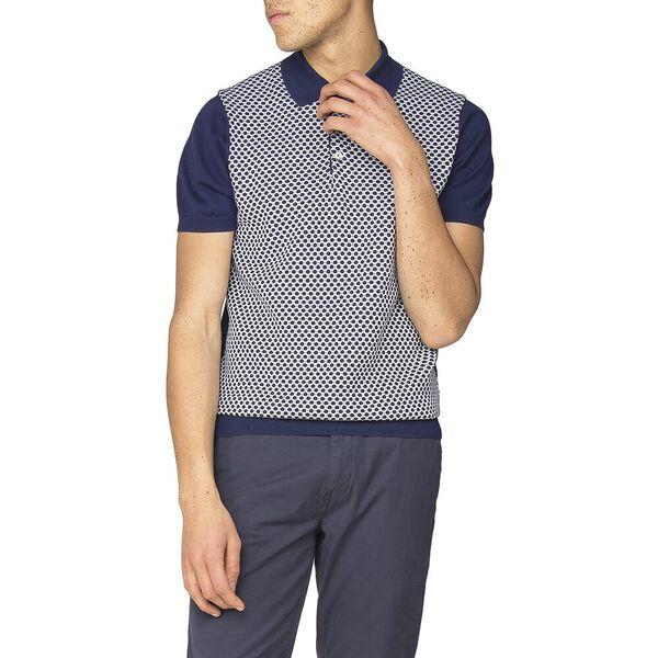 Micro Geo Knit Polo Knit, NAVY, hi-res