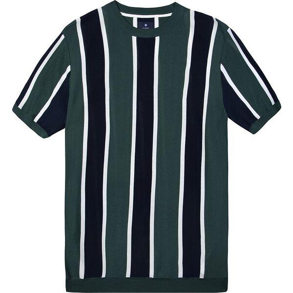 Knitted Vertical Stripe Crew, TREKKING GREEN, hi-res