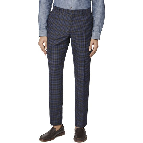 BLUE MUSTARD SHADOW CHECK TAIL TROUSER