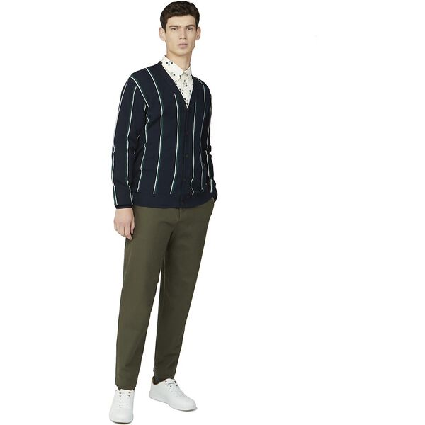 STRIPE CARDIGAN KNIT, DARK NAVY, hi-res