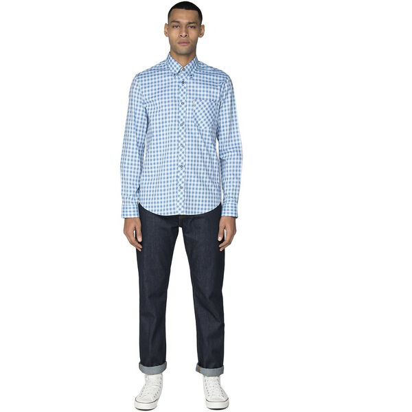 LS SATIN STRIPE GINGHAM SHIRT, SKY BLUE, hi-res