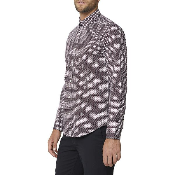 OPTIC SPOT PRINT SHIRT, WINE, hi-res