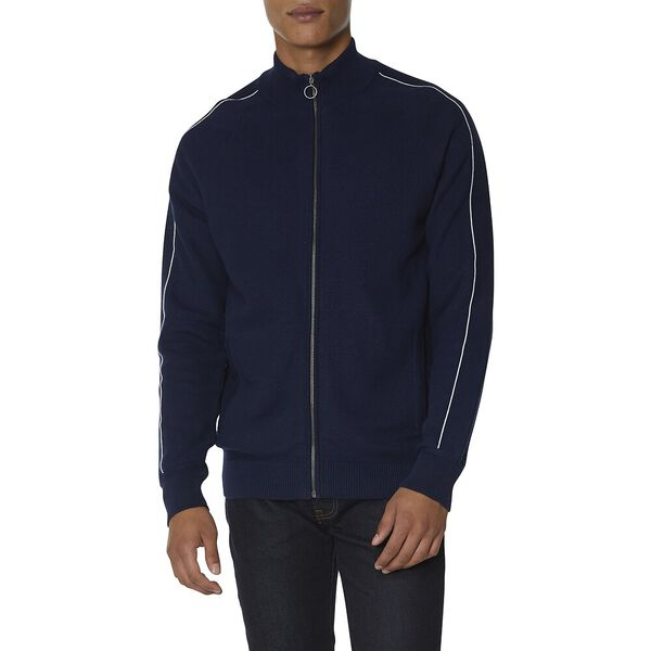 Honeycomb Knitted Track Top, NAVY, hi-res