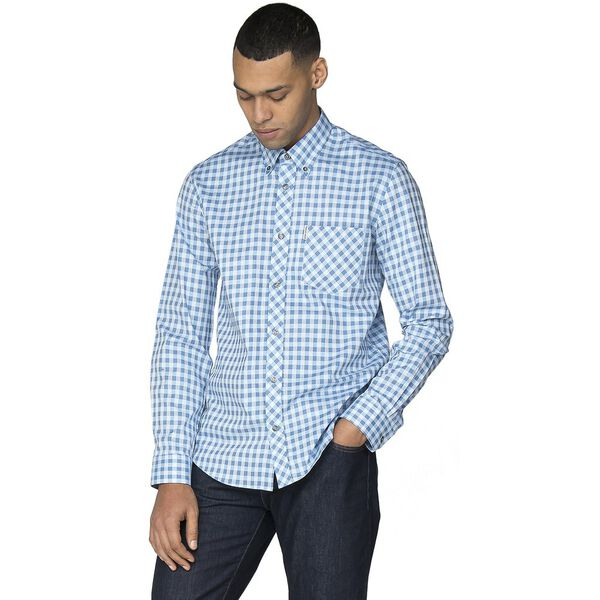 LS SATIN STRIPE GINGHAM SHIRT