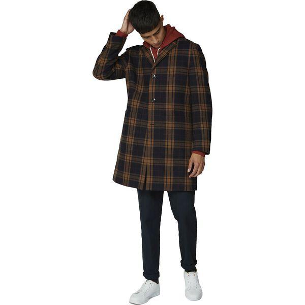 CHECK LONG TAILORED COAT, BLACK, hi-res