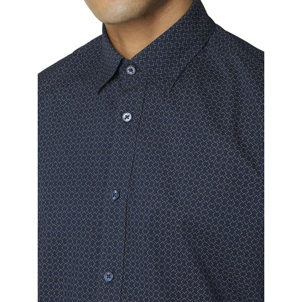 Geo Print Shirt, DARK NAVY, hi-res