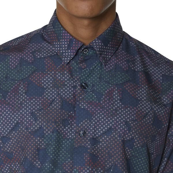 Tropical Geo Print Shirt, DARK BLUE, hi-res