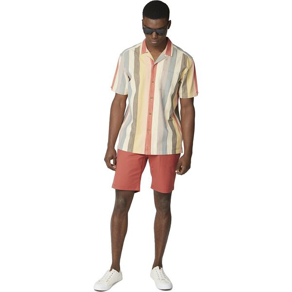 REVERE COLLAR STRIPED SHIRT, RED, hi-res