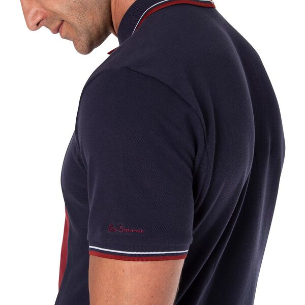 CUT AND SEW FRONT POLO, MARINE, hi-res