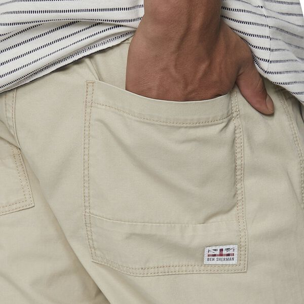 Mens Ben Sherman Stretch Chino Shorts In Sand Zip Fly Pockets To Sides Button
