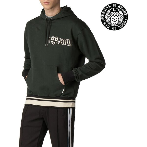 BEN SHERMAN X LONDON RUNWAY MERCERISED SWEAT HOODY, DARK GREEN, hi-res