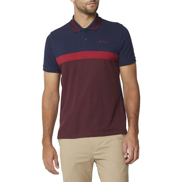 Contrast Panel Script Polo Wine