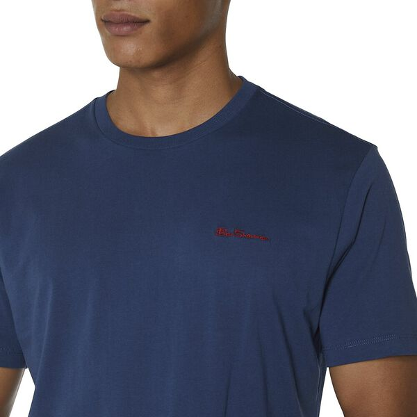 CHEST EMBROIDERY T-SHIRT, DARK NAVY, hi-res