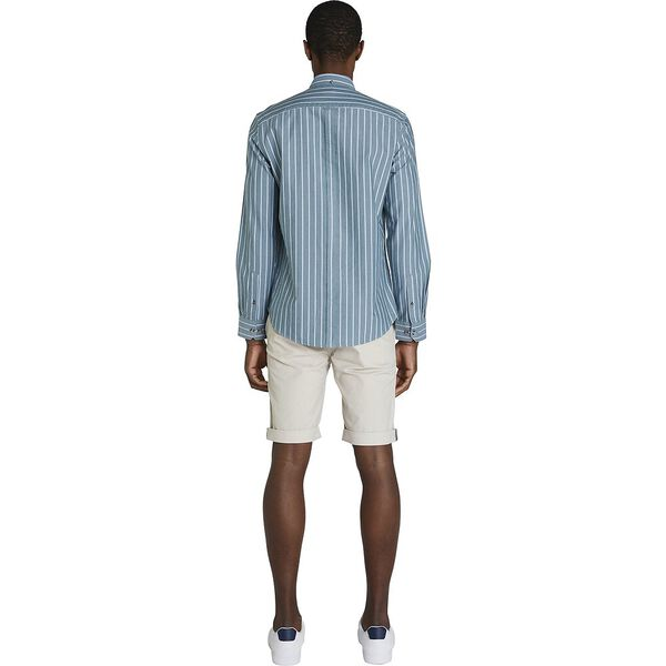 STRIPE OXFORD MOD SHIRT, TEAL BLUE, hi-res