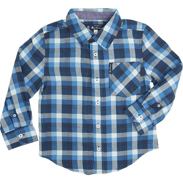 LS DOTTED CHECK SHIRT BLUE