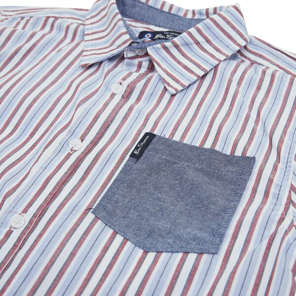 STRIPED CHECK SHIRT, WHITE/BLUE/RED, hi-res