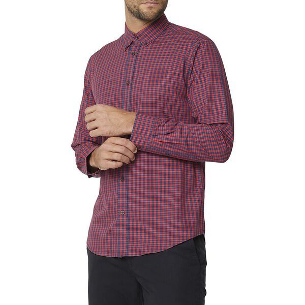 Ls Mod Multi Check Shirt Red, RED, hi-res