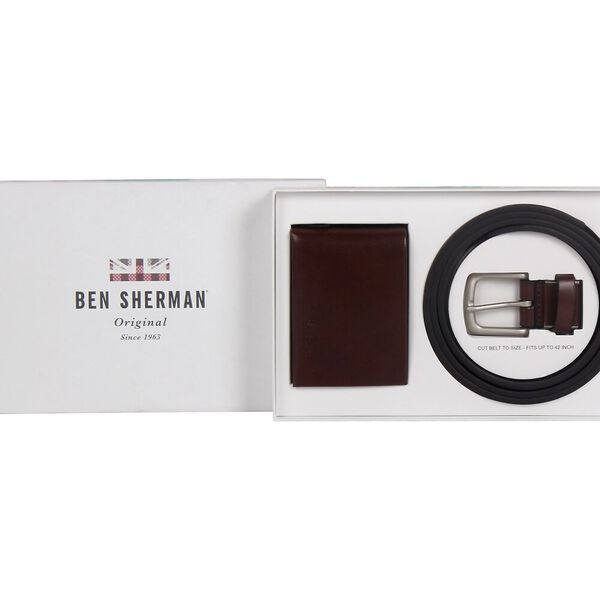 Belt & Wallet Gift Set W/Emboss Brown, BROWN, hi-res