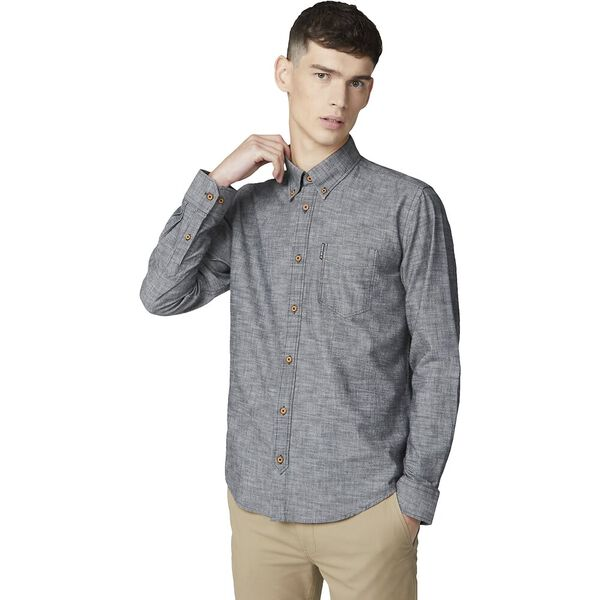 Chambray Shirt, BLACK, hi-res