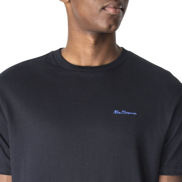 CHEST EMBROIDERY TEE, BLACK, hi-res