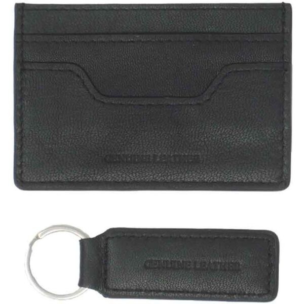 TRAVIS LEATHER CARDHOLDER & KEYRING SET