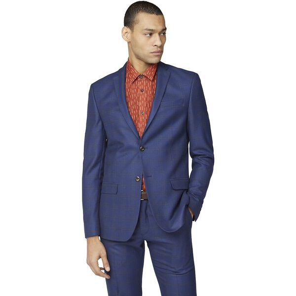 BLUE ORANGE CHECK SLIM JACKET