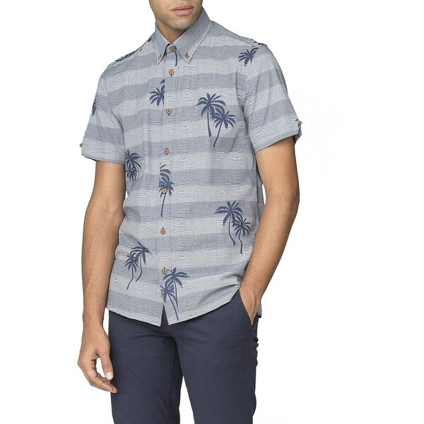 STRIPED PALM PRINT SHIRT
